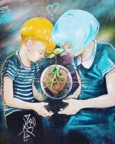 graffitti art girl and boy holding a growing plant and planet